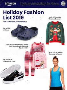 Amazon Cyber Monday Ad Scan, Deals and Sales 2019 The Amazon 2019 Cyber Monday ad is here! Be sure to subscribe to our newsletter to receive emails about all the latest Cyber Monday news and ad leaks ... #cybermonday #amazon Cyber Monday Ads, Monday News, Amazon Black Friday, Baby Zebra, Crocs Shoes, Holiday Fashion, Ugly Christmas Sweater, Reebok, Baby Kids