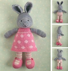 This listing is for an extensive PDF file which contains full instructions for knitting and finishing off a little cotton rabbit girl in a dotty dress. The file is 14 pages long and contains over 50 detailed step-by-step photographs along with full pattern instructions and tips for stuffing, seaming and finishing neatly.The pattern is written for knitting flat on two needles and all pieces are seamed afterwards. Please note that this project is not a quick or simple knit. I t takes me around…