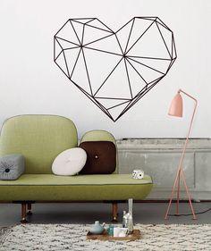 Geometric Heart - Vinilo Adhesivo mate. $65.900 COP. Cómpralo aquí--> https://www.dekosas.com/productos/decoracion-hogar-vinilos-decorativos-myvinilo-geometric-heart-detalle