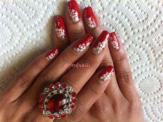 Gold red white nail art - Nail Art Gallery