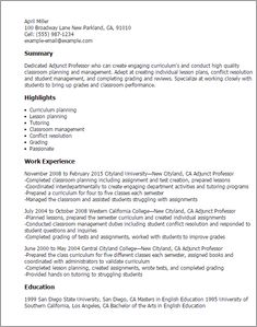 adjunct professor sample resume | resume builder