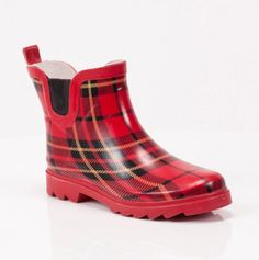 Plaid Rain Bootie - wouldnt have to worry about my fat legs! and they are cute!