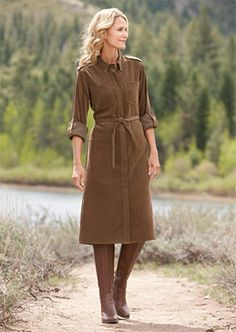 Our signature Country Suede has the supple drape and buttery-soft feel of suede in a resilient, easy-care poly/spandex blend. Classic button-front styling with shoulder epaulets, roll-tabs on the long sleeves, and chest pockets. Self-tie belt. Button-front shirtdress for women in bark. Washable. Imported. Sizes: XS(4, S(6-8, M(10-12, L(14-16, XL(18-20 #spandex #coupons #swimwear