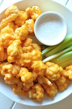 Spicy Buffalo Cauliflower - Baked.  When you feel like Buffalo wings, but know you should eat your veggies. Perfect.