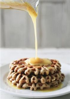 12 To-Die-For Healthy Waffle Recipes: Almond & Yogurt Waffles with Orange Honey Syrup