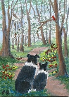 """Critter Watch"" featuring Border Collies, Sammy and Breagh, on a path through the dogwoods, watching out for forest critters - deer, squirrel and cardinal, from an original ACEO painting by North Carolina artist, Fran Brooks. www.artistnannie.com"