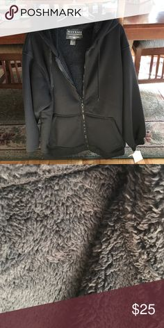 Men's hoodie/lightweight jacket Navy blue faux fleece lined hoodie.  100% polyester looks big for an XL Shirts Sweatshirts & Hoodies