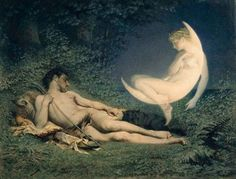 Victor Florence Pollet (1811-82) 'Endymion and Selene' Watercolour 1850-60 Museum no. 748-1902 Given by Mr F.R. Bryan In Greek myth, Selene was the goddess of the moon who fell in love with the mortal Endymion. According to some versions of the tale, Selene cast a spell over her lover to make him sleep forever. Endymion could thus retain his youth and good looks eternally.
