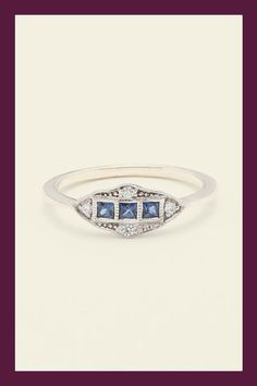 This made-to-order ring from Erica Weiner, featuring three square cut sapphires, is inspired by the antique jewelry from the Art Deco era. #refinery29 http://www.refinery29.com/guide-to-buying-engagement-rings#slide-17