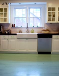 1000 images about painted floors on pinterest painted for Can you paint non wood kitchen cabinets