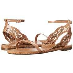 Make a splash with these sweet sandals! Adjustable buckle closure at ankle strap. Leather upper with laser-cut ankle strap. Leather lining. Lightly cushioned l…