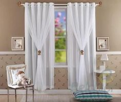 Like how these curtains are hung as well. Curtains With Blinds, Sheer Curtains, Drapes Curtains, Valance, Layered Curtains, Drapery, Curtain Styles, Curtain Designs, Beautiful Curtains