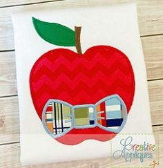 Apple Bow Tie Applique - 4 Sizes!   What's New   Machine Embroidery Designs   SWAKembroidery.com Creative Appliques