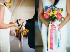 FESTIVAL WEDDING , colourful flowers and ribbons, hand fisting