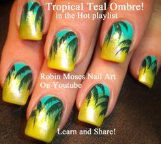 """""""teal nails"""" """"tropical nails"""" """"ombre nail art"""" """"teal ombre"""" """"nail art"""" """"teal gradient"""" """"palm tree nails"""" """"vacation nails"""" """"summer nails"""" nail art nailart robin moses design tutorial"""
