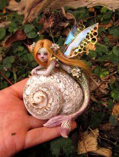 Gorgeous Mermaid Fairy on Shell by Celia Anne by scarletsbones