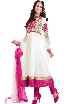 Gorgeous white embroidered churidar suit Fabric - Georgette Color - White T V Serial - Madhubala  http://valehri.com/salwar-kameez/798-gorgeous-white-embroidered-churidar-suit.html
