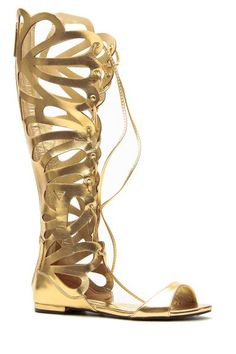 Gold Faux Leather Cut Out Lace Up Gladiator Sandals