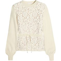 Chloé Floral-lace and wool-blend sweater ($1,110) ❤ liked on Polyvore