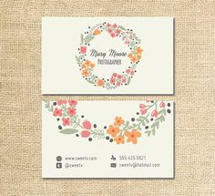 Photography business card design for photographer coral flower business card. Instant Download
