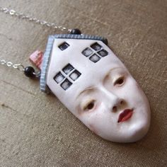 Thoughts of Home - Porcelain Pendant on Sterling Silver. Maid of Clay via Etsy.