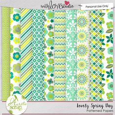 "Patterned Papers ""Lovely Spring Day"" by Aurélie Scrap. Colors which bring up spring... It contains : 10 patterned papers"