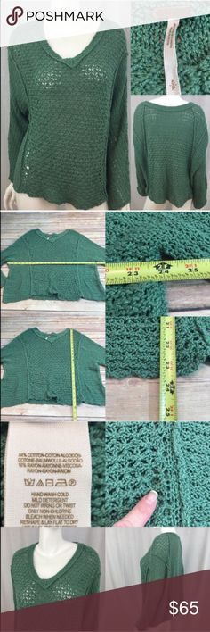 💌Size Small Free People Oversized Crochet Sweater Measurements are in photos. Normal wash wear, a mark on the bottom of the front, no other flaws. B1  I do not comment to my buyers after purchases, due to their privacy. If you would like any reassurance after your purchase that I did receive your order, please feel free to comment on the listing and I will promptly respond.  I ship everyday and I always package safely. Thank you for shopping my closet! Free People Sweaters V-Necks