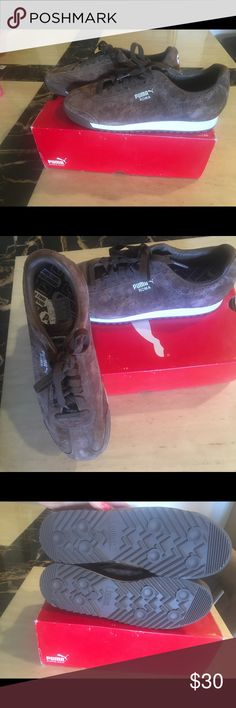 Women's Puma Shoes Women's Puma Roma shoes. Dark earth brown suede with white detailing. New, never worn, with box. Original price - $60 (as pictured). Puma Shoes Athletic Shoes