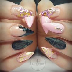 Pink, Black, & Gold Stiletto Nails With Rhinestones