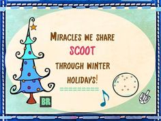Holiday Scoot - Christmas, Chanukah, Kwanzaa and more! Winter Holidays- their meaning, their magic. Special. Ness. #holiday_classroom #Scoot - includes a Miracle song! $