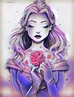 Sketched picture of disney princess belle, with only the rose in color. Cute Disney Drawings, Disney Princess Drawings, Disney Princess Art, Cute Drawings, Punk Princess, Princess Sketches, Cute Disney Wallpaper, Cartoon Wallpaper, Disney Fan Art