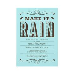 Make it Rain Blue Baby Shower Invitations by UniqueInvites