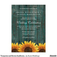 Turquoise and Brown Sunflower Wedding Invitations Turquoise and Brown Sunflower Wedding Invitations - features a shabby turquoise and brown barn wood background with rustic sunflowers at the bottom.