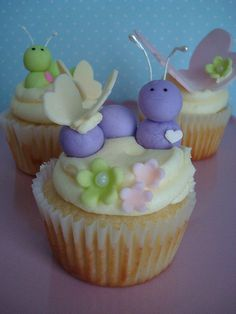 Caterpillars and Butterflies Cupcakes  How perfect for an Orville Wright Caterpillar (to butterfly) party!