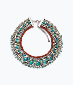 Image 1 of TURQUOISE DIAMANTE NECKLACE from Zara
