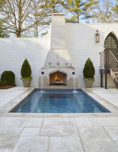 Looking for Traditional Outdoor Space and Swimming Pool ideas? Browse Traditional Outdoor Space and Swimming Pool images for decor, layout, furniture, and storage inspiration from HGTV. Outdoor Fireplace, Travertine Pool, Peacock Pavers, Pool Remodel, Outdoor Spaces, House, Swimming Pools