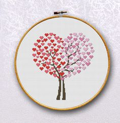 Heart Love Tree cross stitch pattern, Two Love Trees - 110x119 stitches - Colors 5 - INSTANT Download- 012