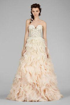 Ombre blush wedding dress. Beautiful! Lazaro, Fall 2014:
