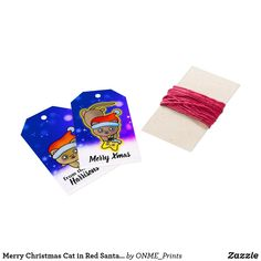 Merry Christmas Cat in Red Santa with Star Gift Tags #Onmeprints #Zazzle #Zazzlemade #Zazzlestore #Zazzleshop #Zazzlestyle #Merry #Christmas #Cat #Red #Santa #Star #Gift #Tags Merry Christmas Cat, Christmas Time, Xmas, Star Gift, Brown Cat, Golden Star, Custom Ribbon, Old Newspaper, Personalized Gift Tags