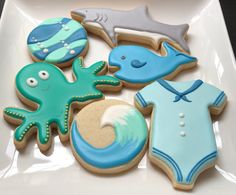 Two of my friend's sisters are pregnant, so they had a joint baby shower! One sister was having a baby boy . Double Baby Showers, Joint Baby Showers, Ocean Baby Showers, Baby Shower Decorations For Boys, Boy Baby Shower Themes, Baby Boy Shower, Ocean Theme Baby Shower, Baby Cookies, Baby Shower Cookies