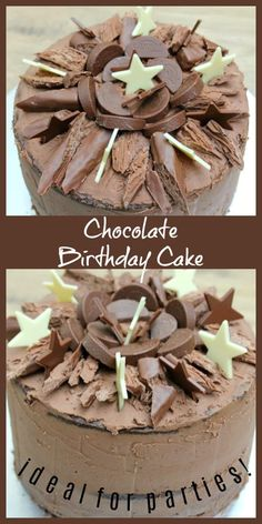 Chocolate birthday cake recipe with four layers of chocolate sponge, chocolate buttercream and topped with chocolate decorations, perfect for parties! Tasty Chocolate Cake, Chocolate Recipes, Chocolate Sponge, Chocolate Buttercream, Chocolate Bars, Baking Recipes, Cake Recipes, Dessert Recipes, Birthday Chocolates