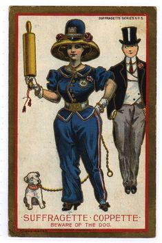 Comic Suffragette Postcard Suffragette Coppette w Rolling Pin Dog Series 5 Vintage Mickey, Vintage Cartoon, Les Suffragettes, Anti Suffrage, Cop Dog, Women Suffragette, Women Right To Vote, Dog Comics, Vows