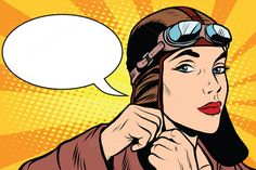 Woman retro military pilot by @Graphicsauthor