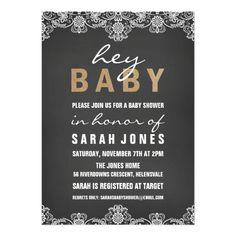 Lace & Burlap Baby Shower Invitation