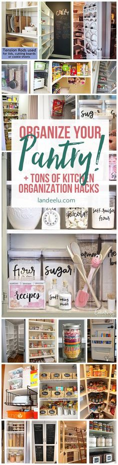 Love these ideas for kitchen organization... that pot lids one is genius! #kitchenorganization #kitchenideas #pantryorganization #pantryideas #pantryhacks #kitchenhacks #organization
