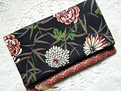 Clutch Purse Pouch Cosmetic Bag - READY TO SHIP - Womens - Fabric - Zippered - Cute - Coin - Flowered - Diabetic - Black - Orange - Cyndee by CyndeesGarden on Etsy