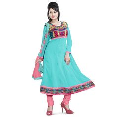 024a5151e8 Rs.749, Buy Online Georgette Zari Work Turquoise Unstitched Churidar Suit -  RA108 - Shree Vardhman - Reviews - IndiaRush