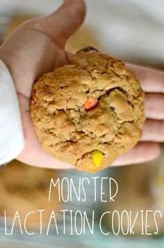 How to make monster lactation cookies! These lactation cookies are LOADED with ingredients that help increase milk supply. Plus, chocolate chips and peanut butter for good measure. Baby Food Recipes, Cookie Recipes, Dinner Recipes, Breastfeeding Cookies, Breastfeeding Help, Peanut Butter Oatmeal, Lactation Cookies Recipe Peanut Butter, Easy Lactation Cookies, Peanut Butter Chips