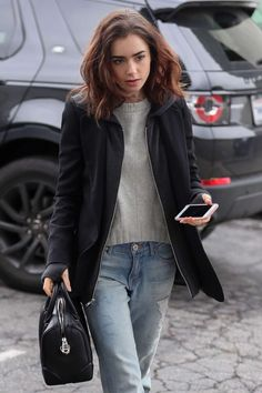 Lily Collins out for lunch in Los Angeles