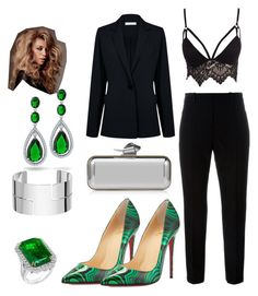 """""""#2"""" by olivia-lefranc ❤ liked on Polyvore featuring Christian Louboutin, Marni, Club L, Atea Oceanie, Bling Jewelry, Dinh Van, Jimmy Choo, black and GREEN"""